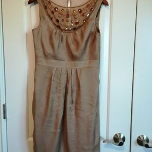 Adrianna Papell Tan Dress with Beads